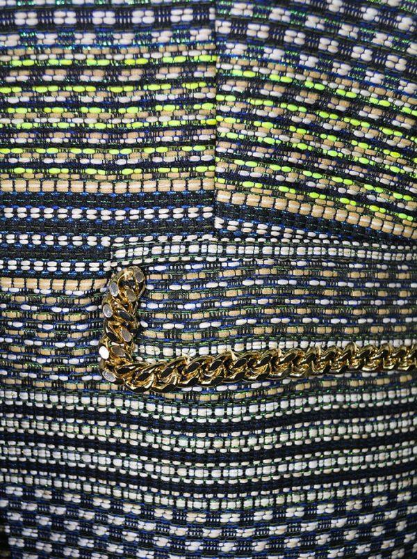 Жилет Chiara D'este плетенный с люрексом на карманах золотые цепи
