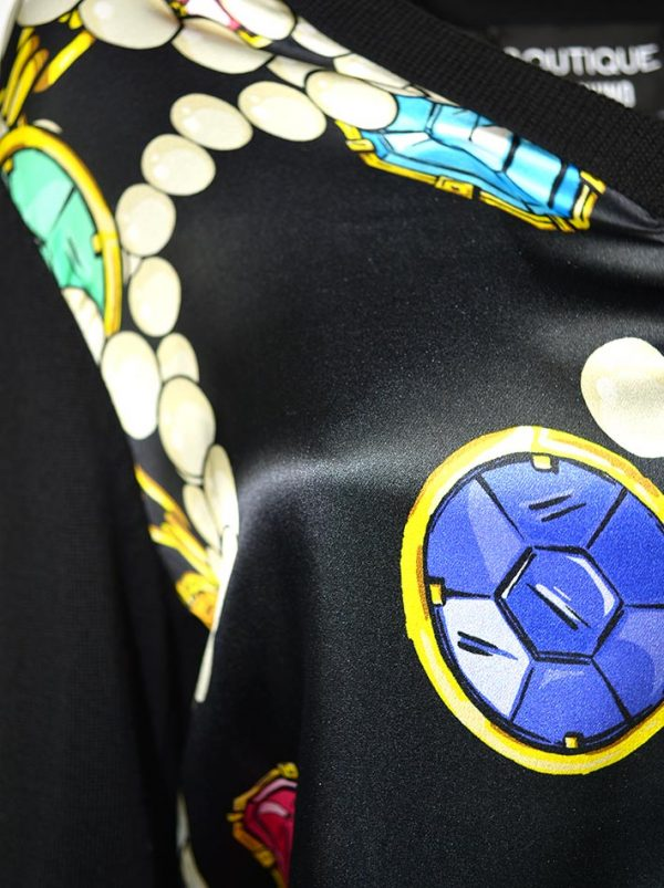 Кардиган Boutique Moschin черный с шелковыми вставками с принтом