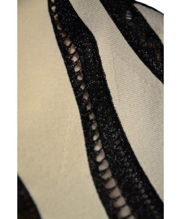 Кофта Blumarine бежевая с черными кружевными вставками с люрексом
