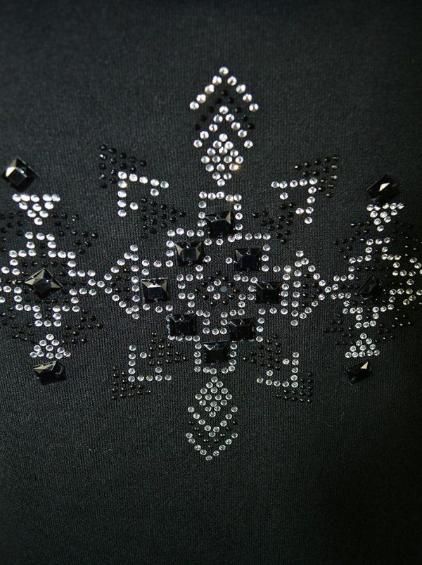 Кофта Leo Guy черная с мехом и камнями