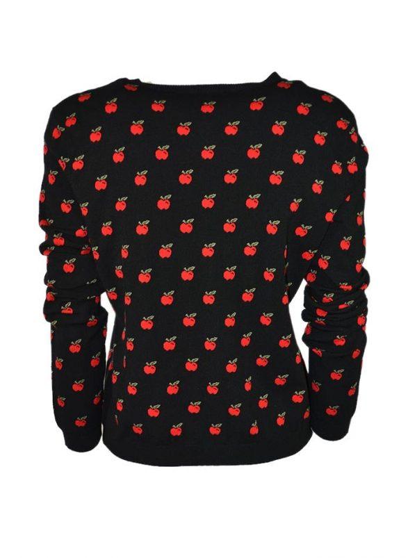 Кофта Red Valentino черная на пуговицах с принтом