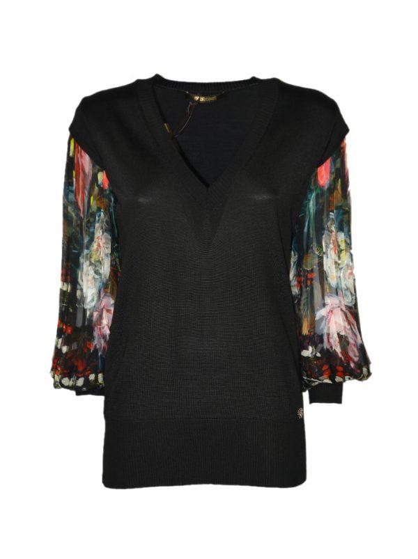 Кофта Roberto Cavalli черная комбинированная шелком плиссе с цветочным принтом