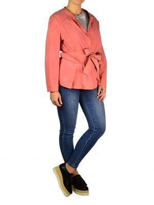 Куртка Alberta Ferretti розовая замшевая на заклепках