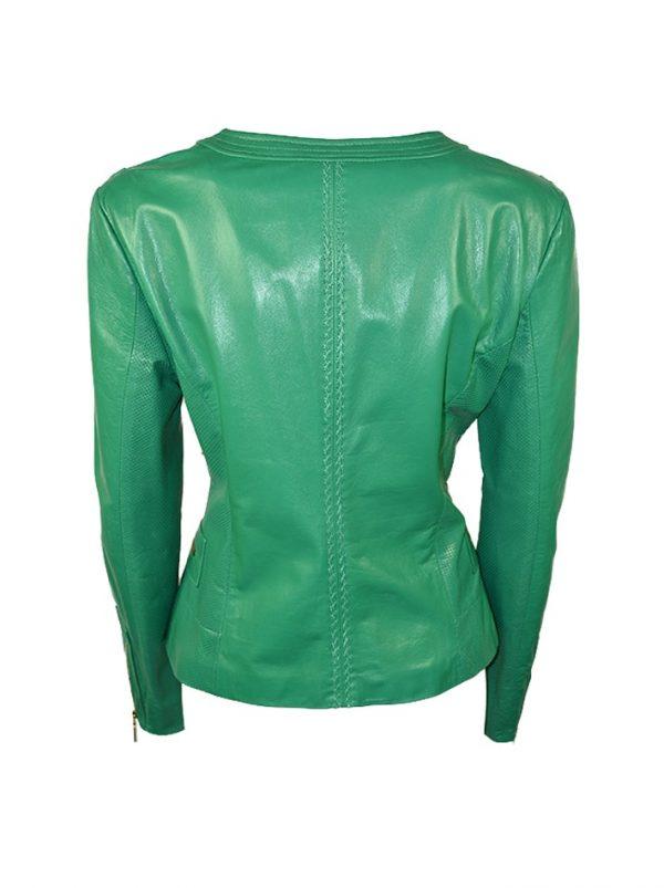 Куртка Angelo Marani зеленая кожаная перфорированная