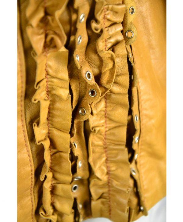 Куртка Gil Santucci охра кожаная с рюшами