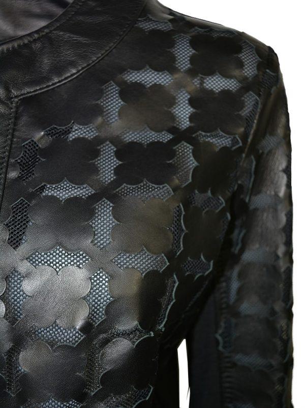 Куртка Imperial черная кожаная с резным узором