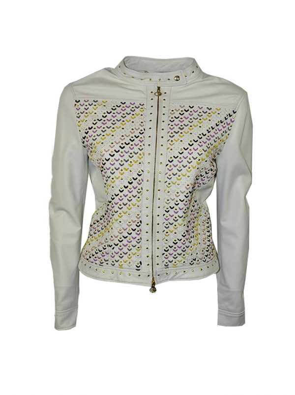 Куртка Versace белая кожаная с золотыми клепками и разноцветной вышивкой