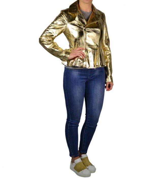Куртка W Les Fammes кожаная золотая с завязками сзади