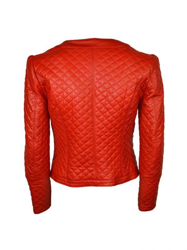 Куртка W Les Femmes кожаная красная стеганая с камнями
