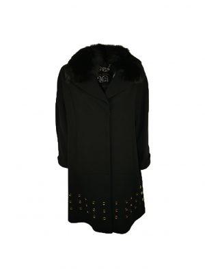 Пальто Chiara D'este черное с меховым воротником и люверсами