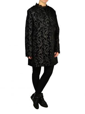 Пальто Didier Parakian черное с принтом на заклепках