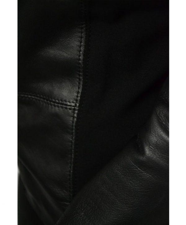 Пиджак Imperial черный кожаный комбинированный с трикотажем