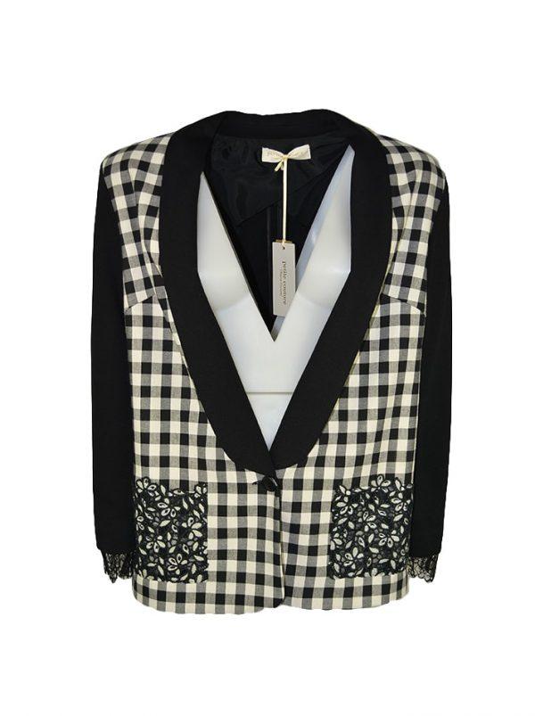 Пиджак Petite Couture черный с принтом черно-белая клетка карманы серебряная вышивка с камнями