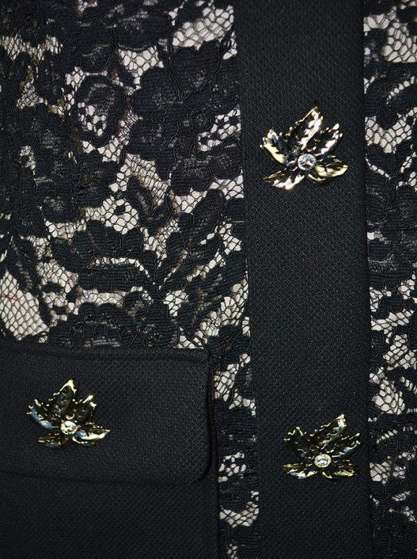 Платье Babylon черное гипюровое с бежевым подкладом и декоративными брошами