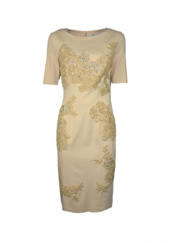Платье Blumarine бежевое с вышивкой и камнями сваровски