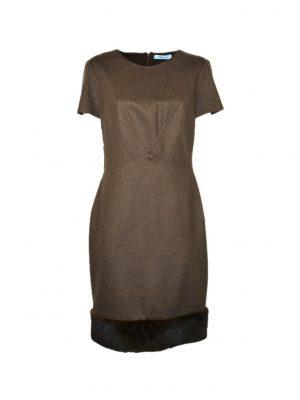 Платье Blumarine коричневое по линии низа отделка норка