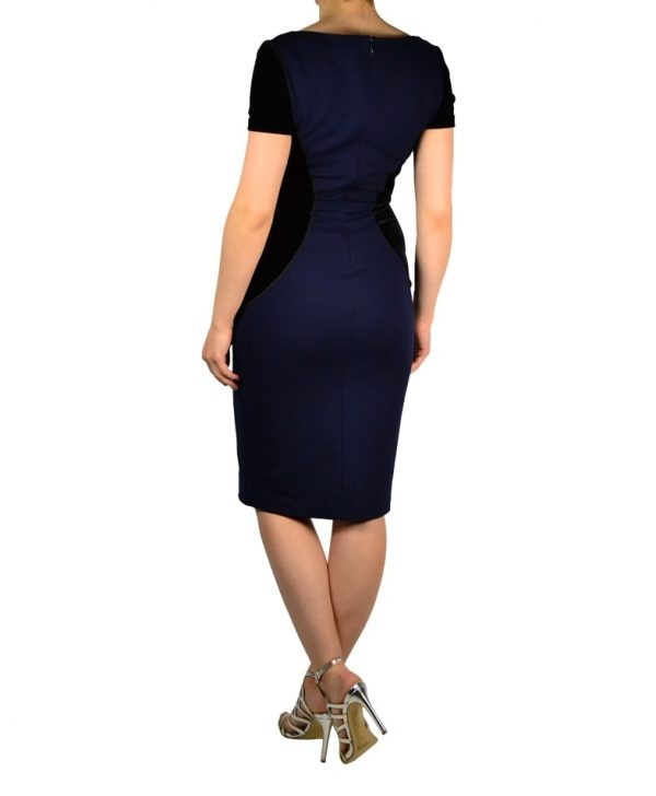 Платье Blumarine синее комбинированное бархатом на груди камни