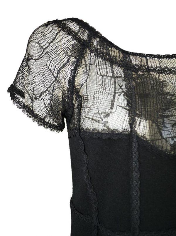 Платье Blumarine черное  из плотного трикотажа комбинированное с гипюром