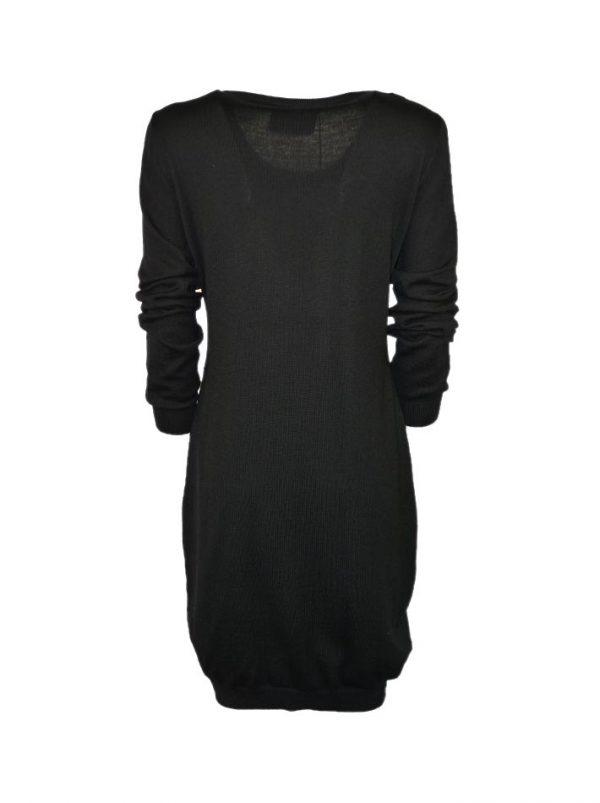 Платье Boutique Moschino черное шерстяное с принтом
