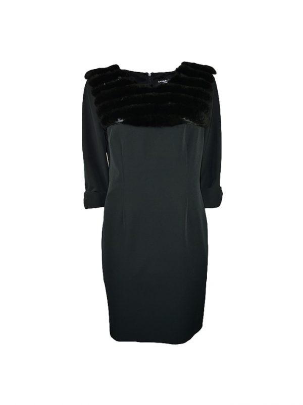 Платье Chiara D'este черное с мехом и камнями