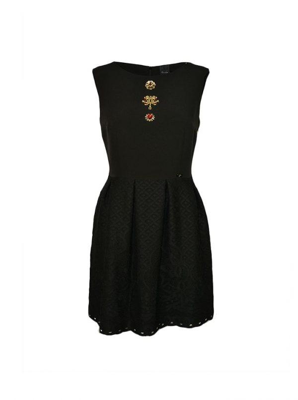 Платье Eureka черное с кружевным низом и брошами на груди