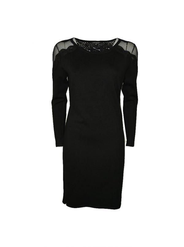 Платье Leo Guy черная комбинированная сеткой гипюром и кружевной вышивкой
