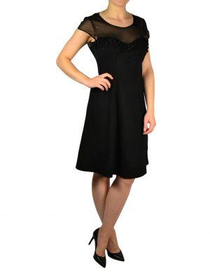Платье Leo Guy черное на груди вышивка с камнями