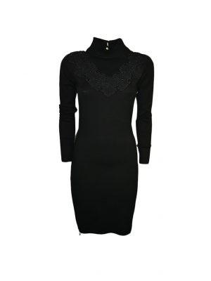 Платье Leo Guy черное с бусинками и вышивкой с элементами шелка