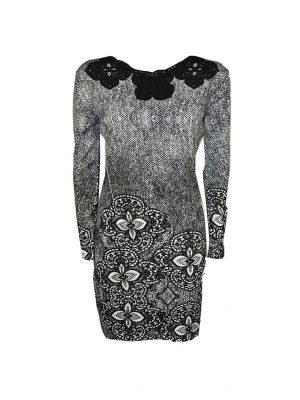 Платье Leo Guy черно-белое с принтом и кружевной вышивкой
