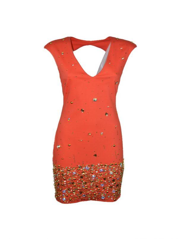 Платье Mary C коралловое с камнями