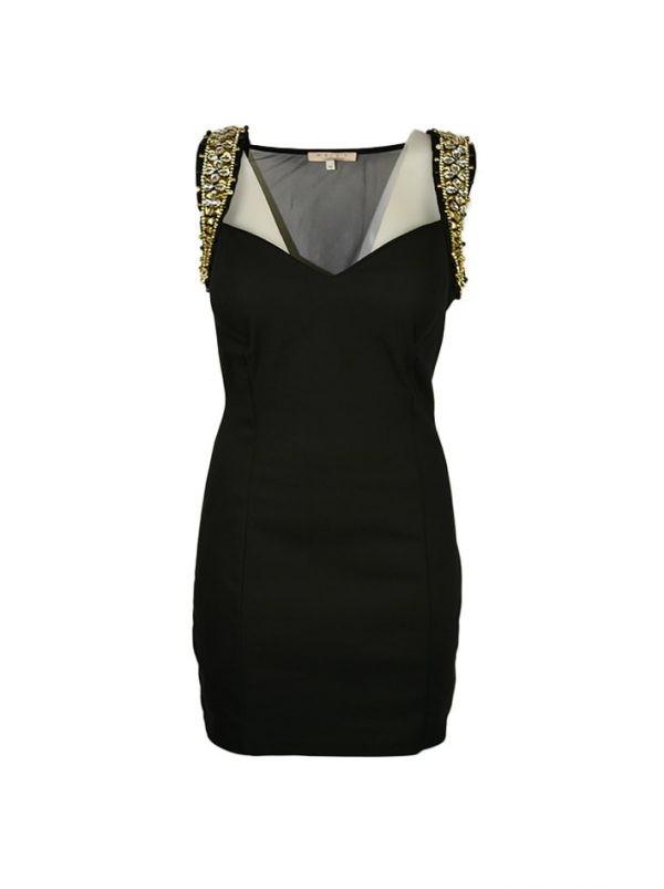 Платье Mary C черное на бретелях камни спинка открытая сеточкой