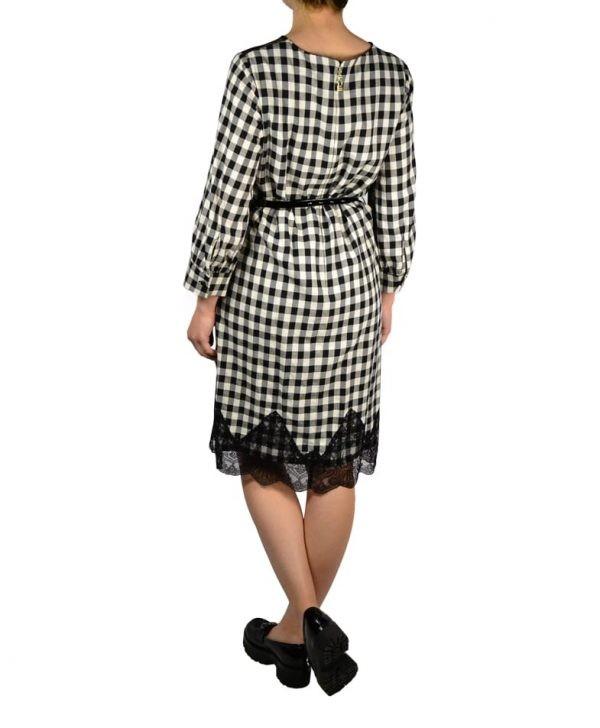 Платье Petite Couture черно-белое в клетку с гипюром и лаковым черным поясом