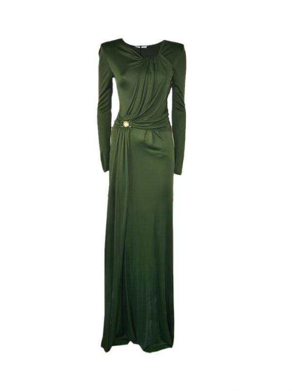 Платье Versace зеленое с драпировкой и фирменным логотипом на поясе