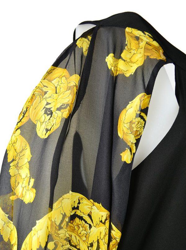 Платье Versace черное с драпировкой рукава-клёш с принтом