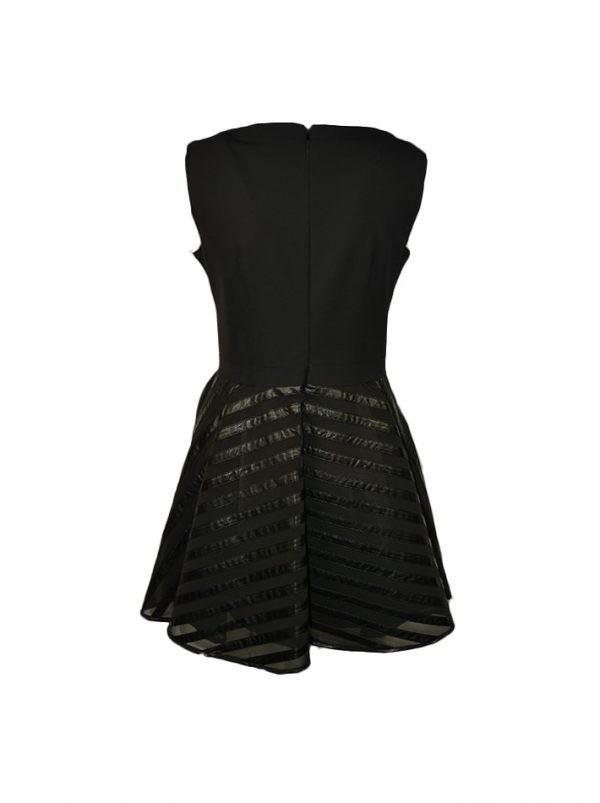Платье W Les Femmes черное сетка комбинированная с кожей