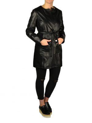 Плащ Imperial черный кожаный комбинированный с трикотажем