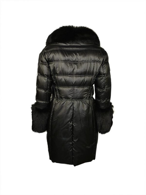 Пуховик Versace черный с двубортными пуговицами рукава и ворот отделка мех