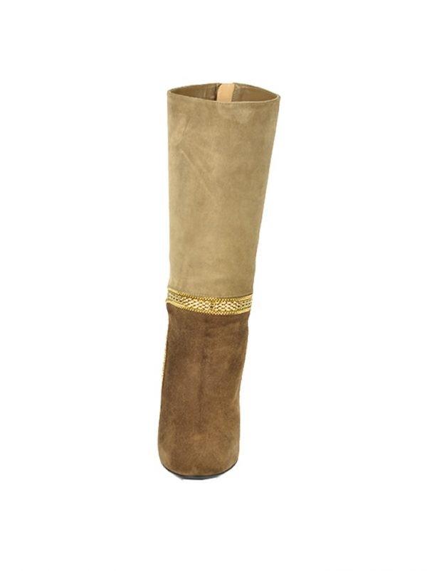 Сапоги Ballin бежево-коричневые замшевые с золотыми цепочками