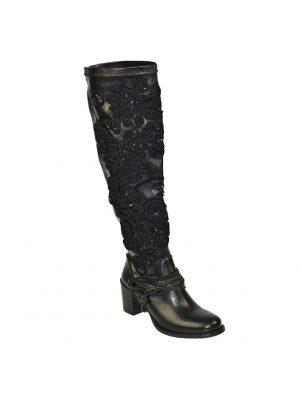 Сапоги Marco Massetti  черные с вышивкой и пайетками