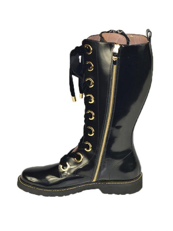 Сапоги Twin-Set черные лаковые со шнуровкой
