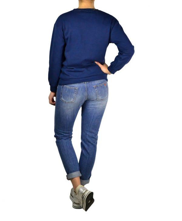 Джинсы Amy Gee синие рванные с внутренними заплаткам из черного джинса
