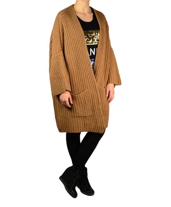 Кардиган Sandro Ferrone коричневый крупная вязка
