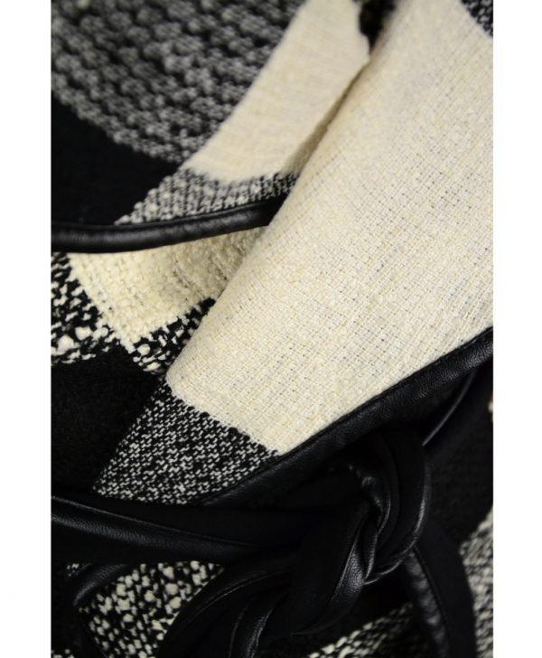 Кардиган Sandro Ferrone черно-белый твидовый в клетку с поясом
