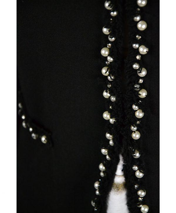 Кардиган Sandro Ferrone черный с бахромой жемчугом и камнями