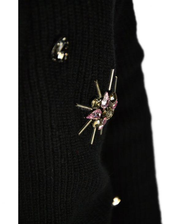 Кофта-жакет Roberta Biagi черная вязаная с камнями