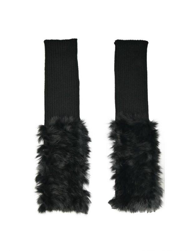 Митенки Blanca черные трикотажные с мехом