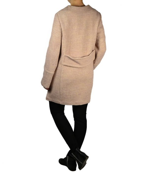 Пальто Sandro Ferrone розовое твидовое на заклепках