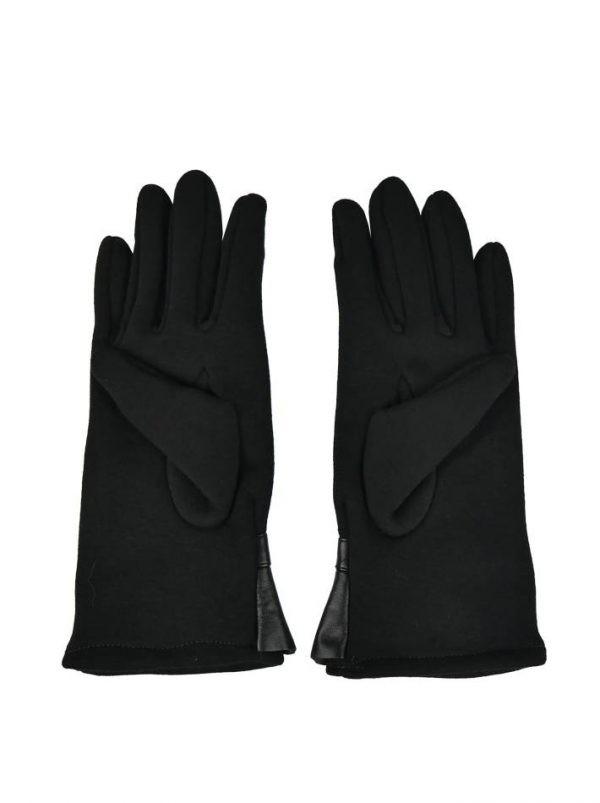 Перчатки Sandro Ferrone черные трикотажные с кожаной вставкой плиссе