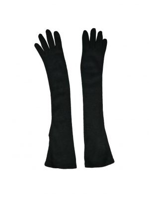 Перчатки Sandro Ferrone черные трикотажные удлиненные