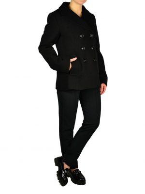 Пиджак Sandro Ferrone черный твидовый с двубортными пуговицами